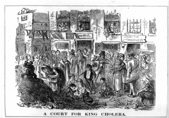 This famous cartoon depicts conditions conducive to the spread of cholera.