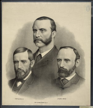 Leaders of the Land War revolt; John Dillon, Chas. Stewart Parnell, Michael Davitt